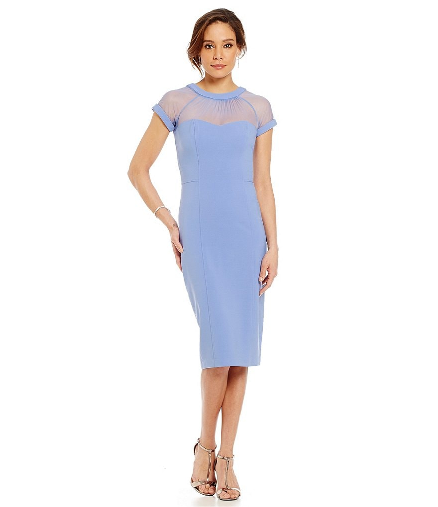 Maggy London Crepe Ruched Illusion Dress