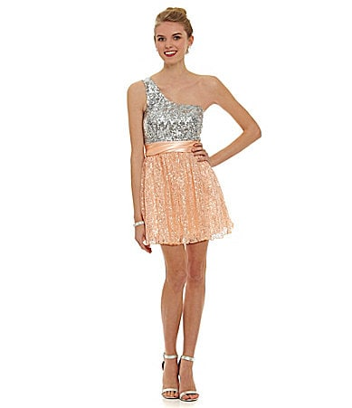 B. Darlin One-Shoulder Sequin Glitter Mesh Dress $ 53.40
