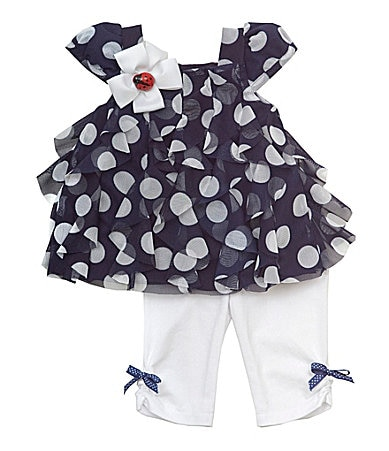 Rare Editions 3-24 Months Dot Mesh Top & Legging Set