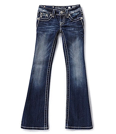 Miss Me Girls 7-16 Embroidered-Cross-Pocketed Bootcut Jeans