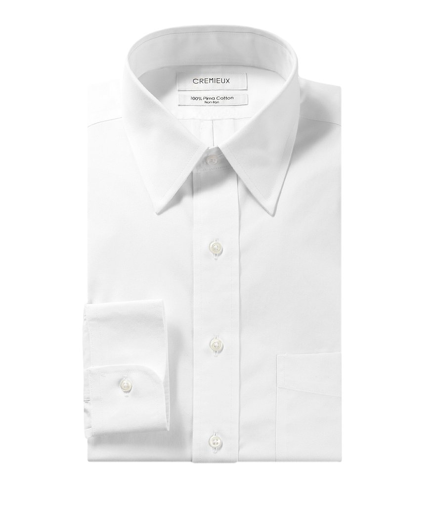 Cremieux Non-Iron Regular Full-Fit Point-Collar Solid Dress Shirt