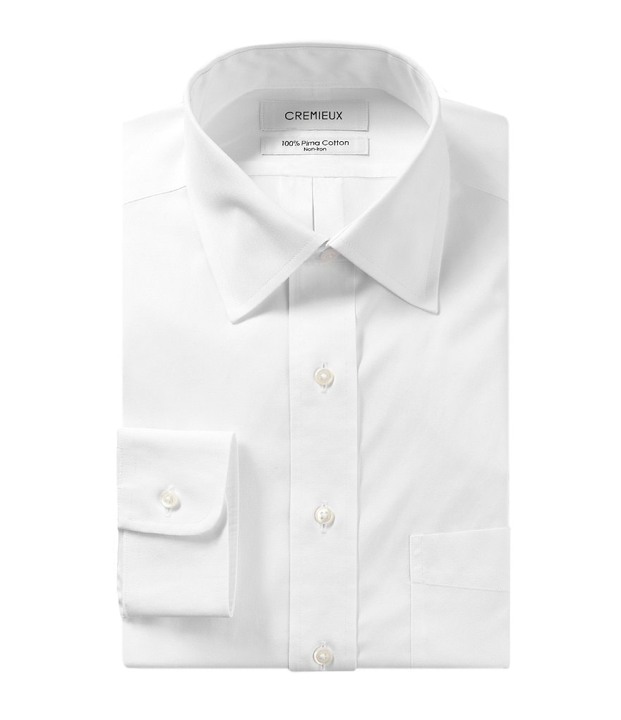 Cremieux Non-Iron Fitted Classic-Fit Spread-Collar Solid Dress Shirt
