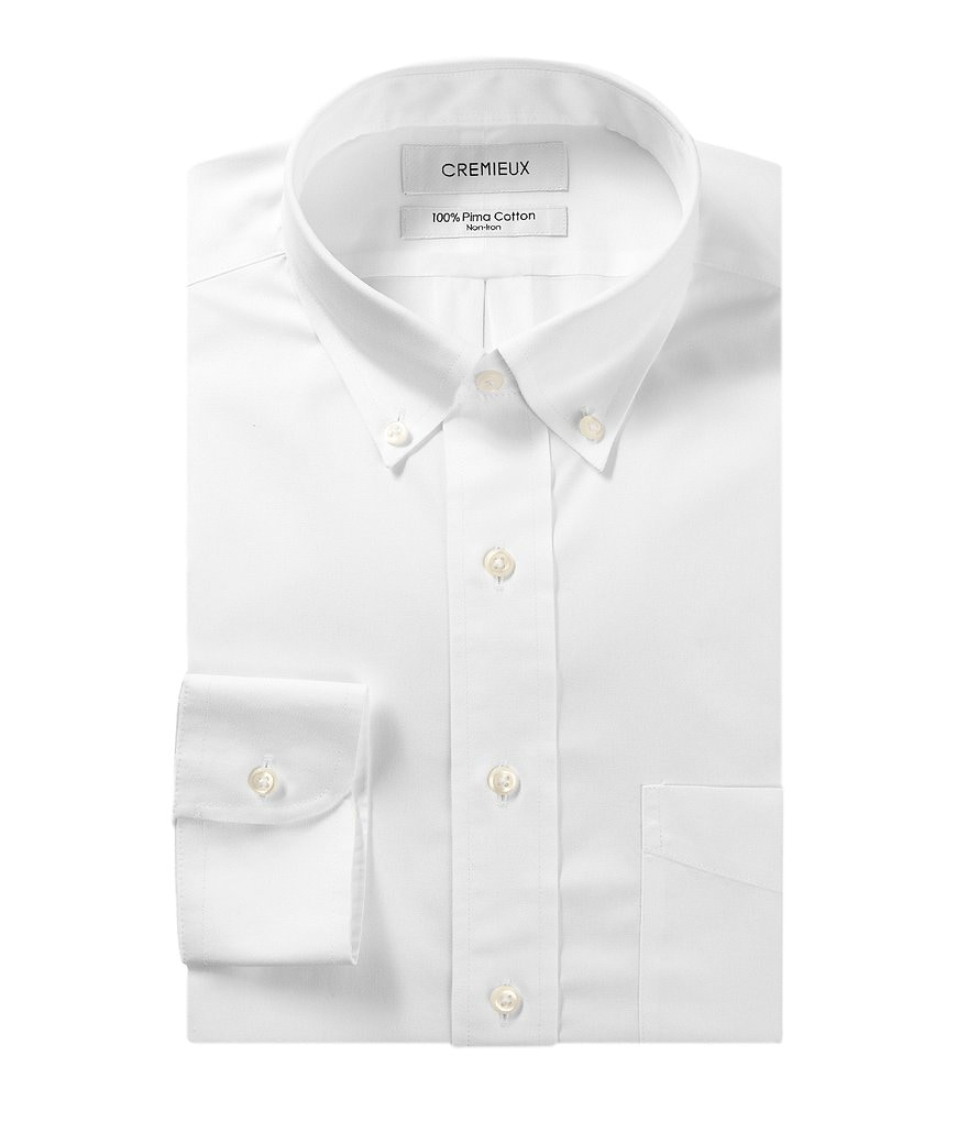 Cremieux Non-Iron Fitted Classic-Fit Button-Down Collar Solid Dress Shirt