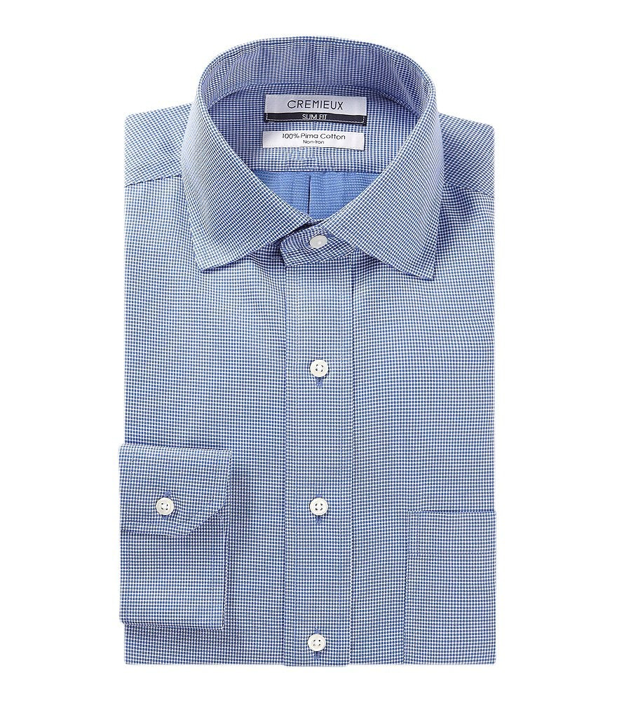 Cremieux Non-Iron Slim-Fit Spread-Collar Dobby Pattern Dress Shirt