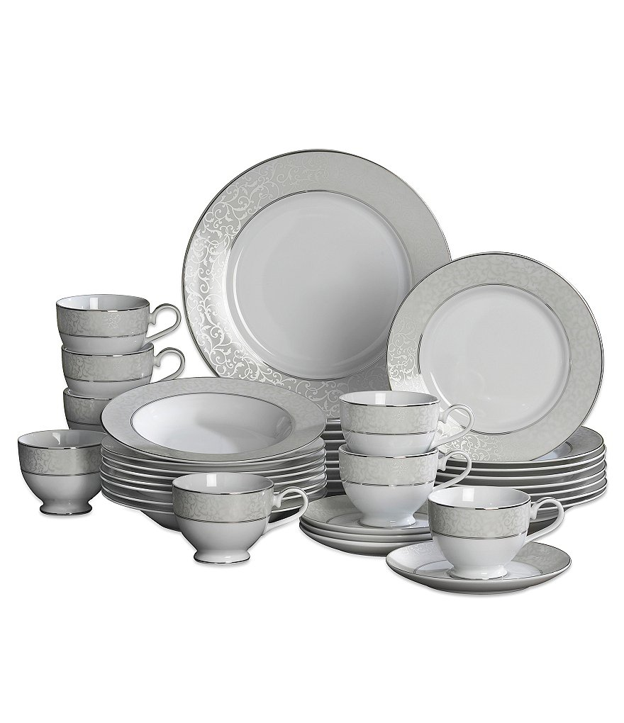 Mikasa Parchment Ivy Scroll Platinum Porcelain 40-Piece China Set