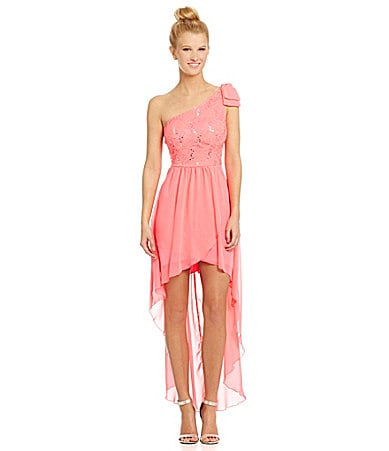 B. Darlin One-Shoulder Lace Chiffon Hi-Low Dress $ 47.40