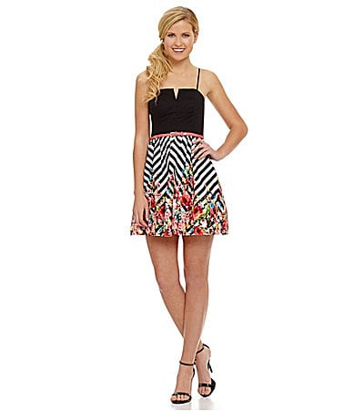 B. Darlin Colorblock Floral Chevron Party Dress $ 69.00
