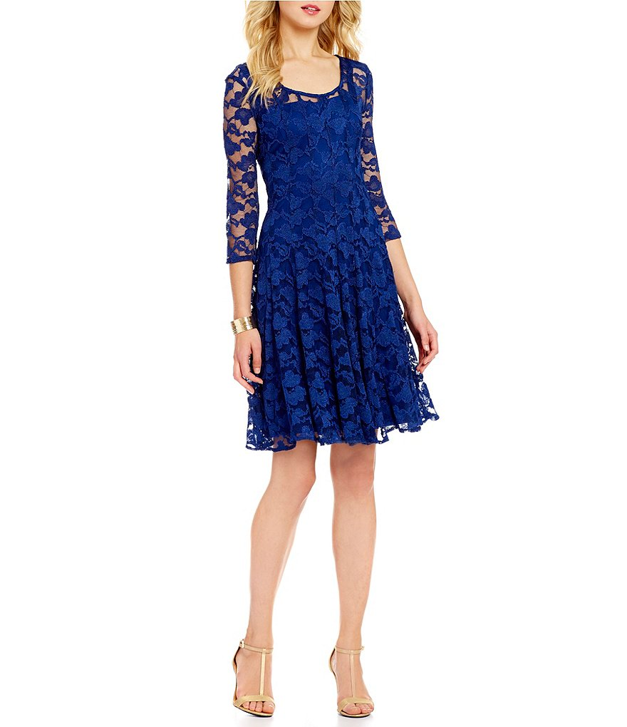 Leslie Fay Floral Lace Fit-and-Flare Dress