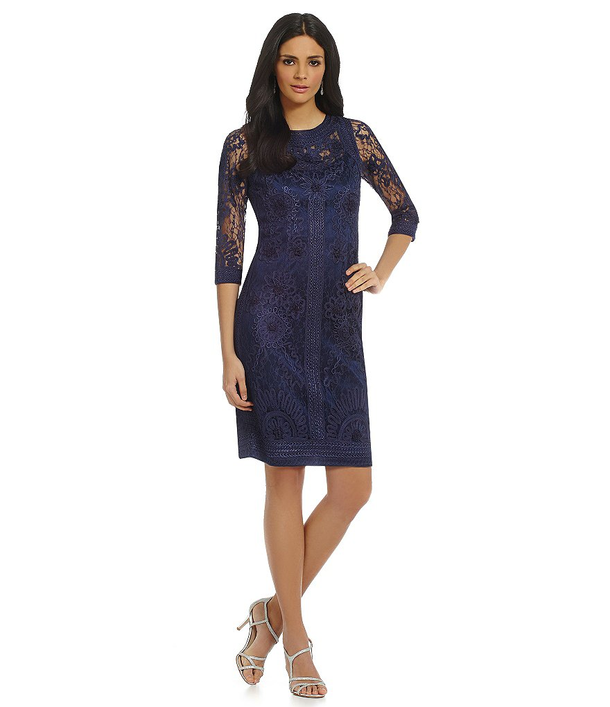Sue Wong Soutache Embroidered Lace Sheath Dress