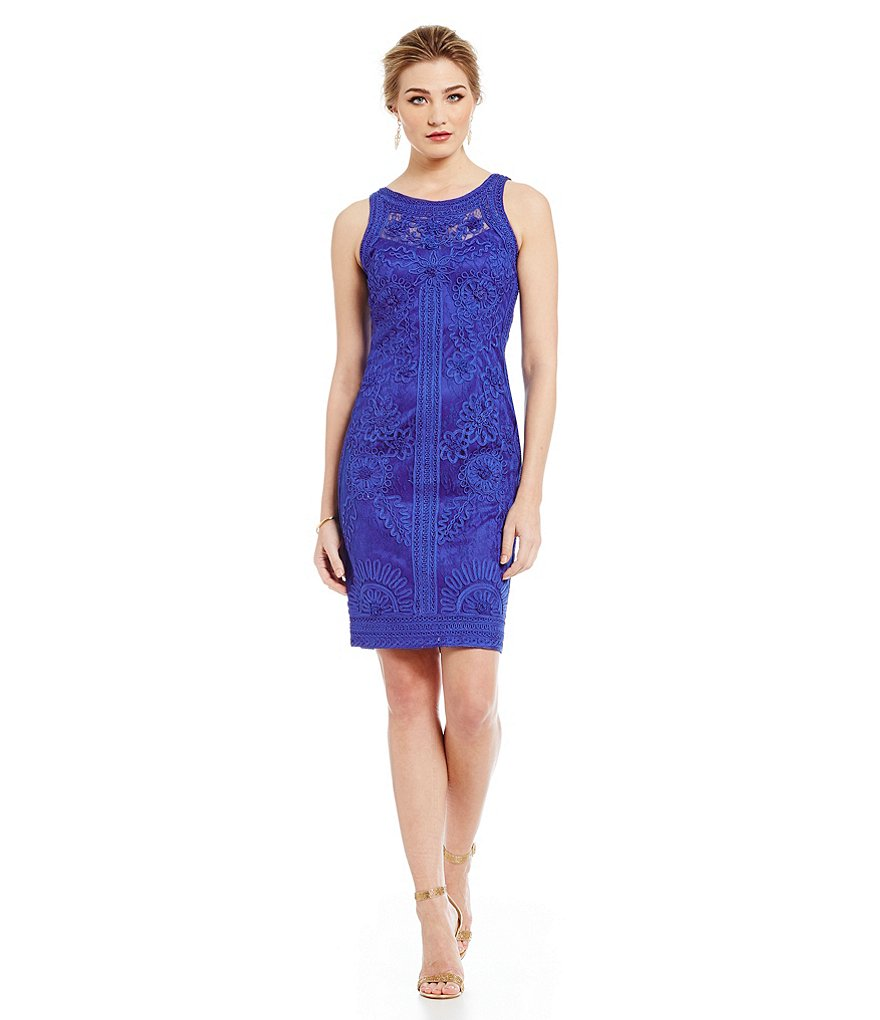 Sue Wong Soutache Lace Sheath Dress