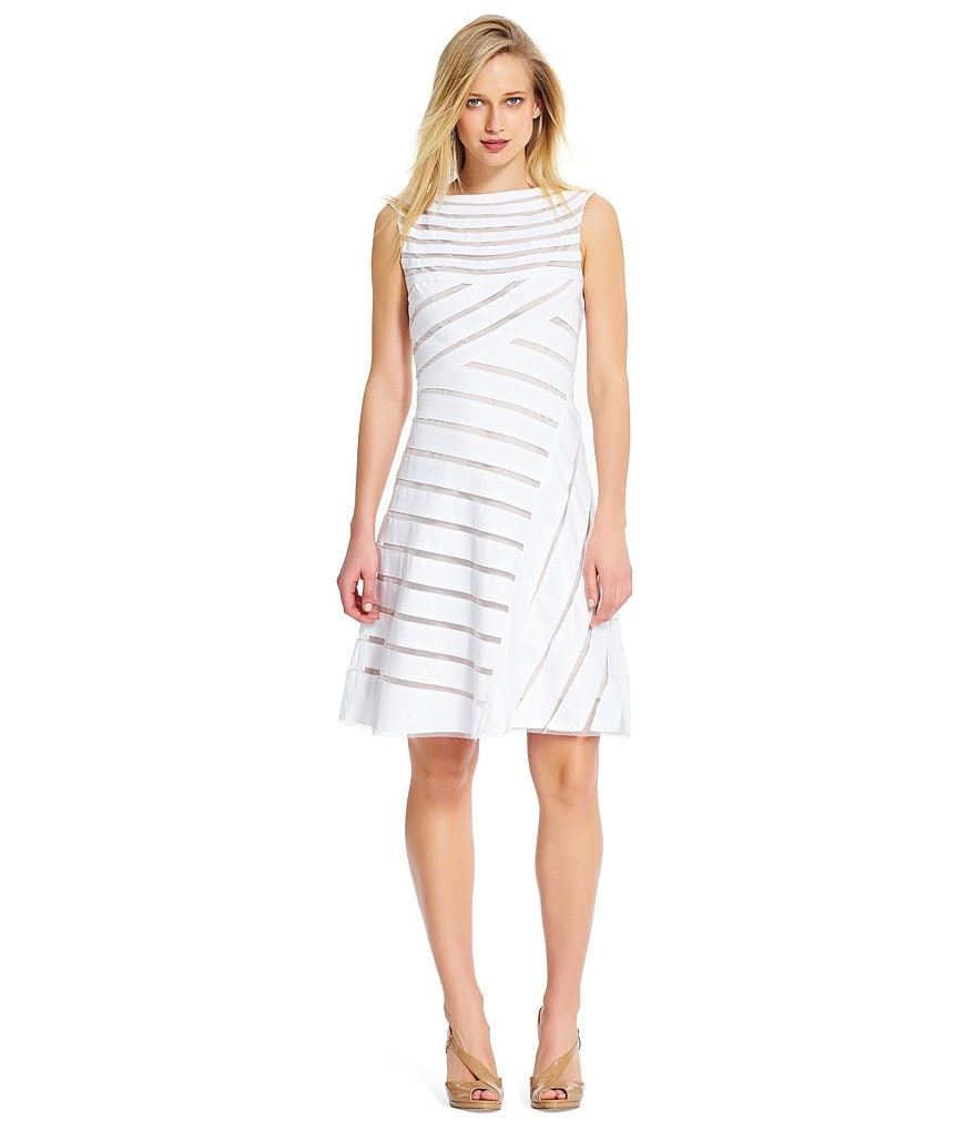 Adrianna Papell Illusion White Fit and Flare Dress