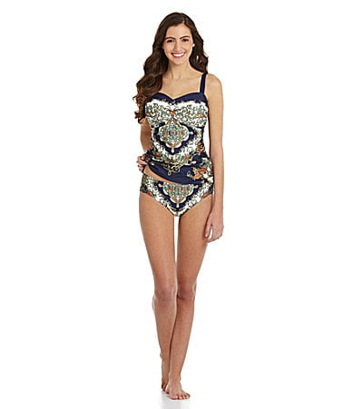 Sale alerts for  Alex Marie Scarf-Print Molded Bandini Top & Ruched Bottom - Covvet