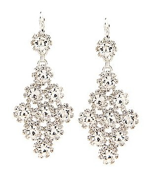 Cezanne Kite Shaped Rhinestone Chandelier Statement Earrings
