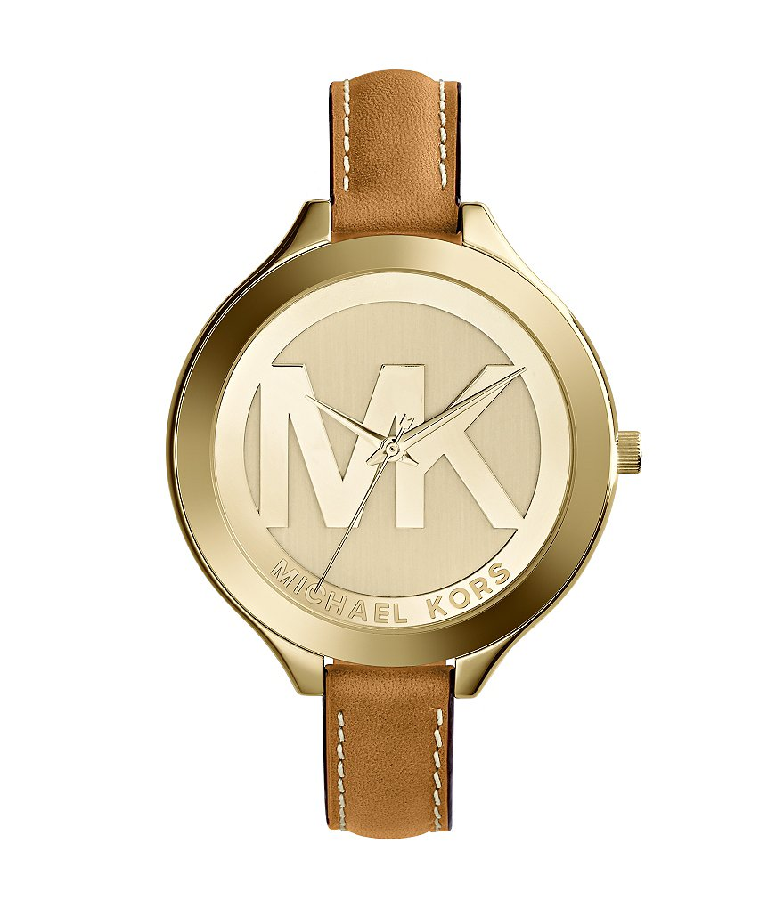 Michael Kors Slim Runway Logo Dial Leather Strap Watch