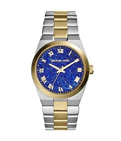 Michael Kors Channing Genuine Lapis Dial 3-Hand Two Tone Watch
