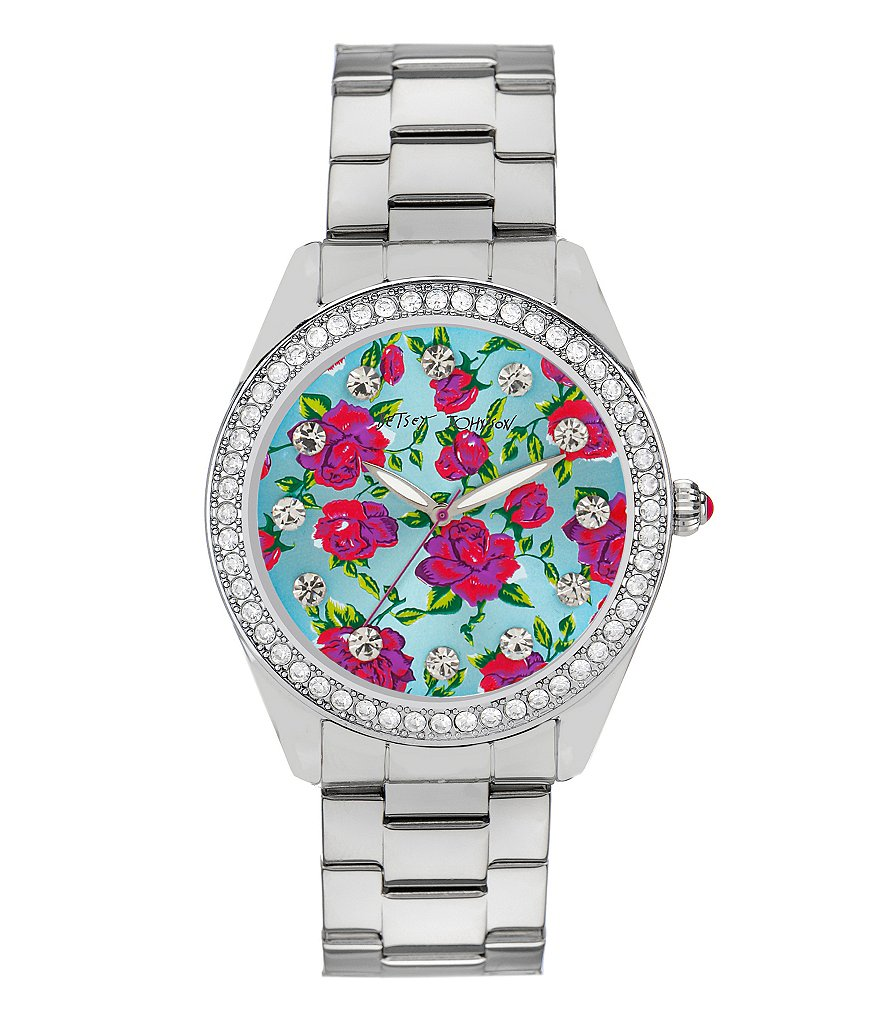 Betsey Johnson Boxed Floral Pattern Dial Crystal Stainless Steel Boyfriend Watch