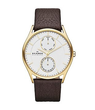 Skagen Multifunction Leather-Strap Watch