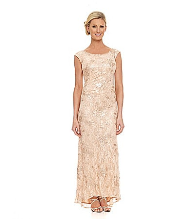 KM Collections Beaded Lace Gown $ 210.00