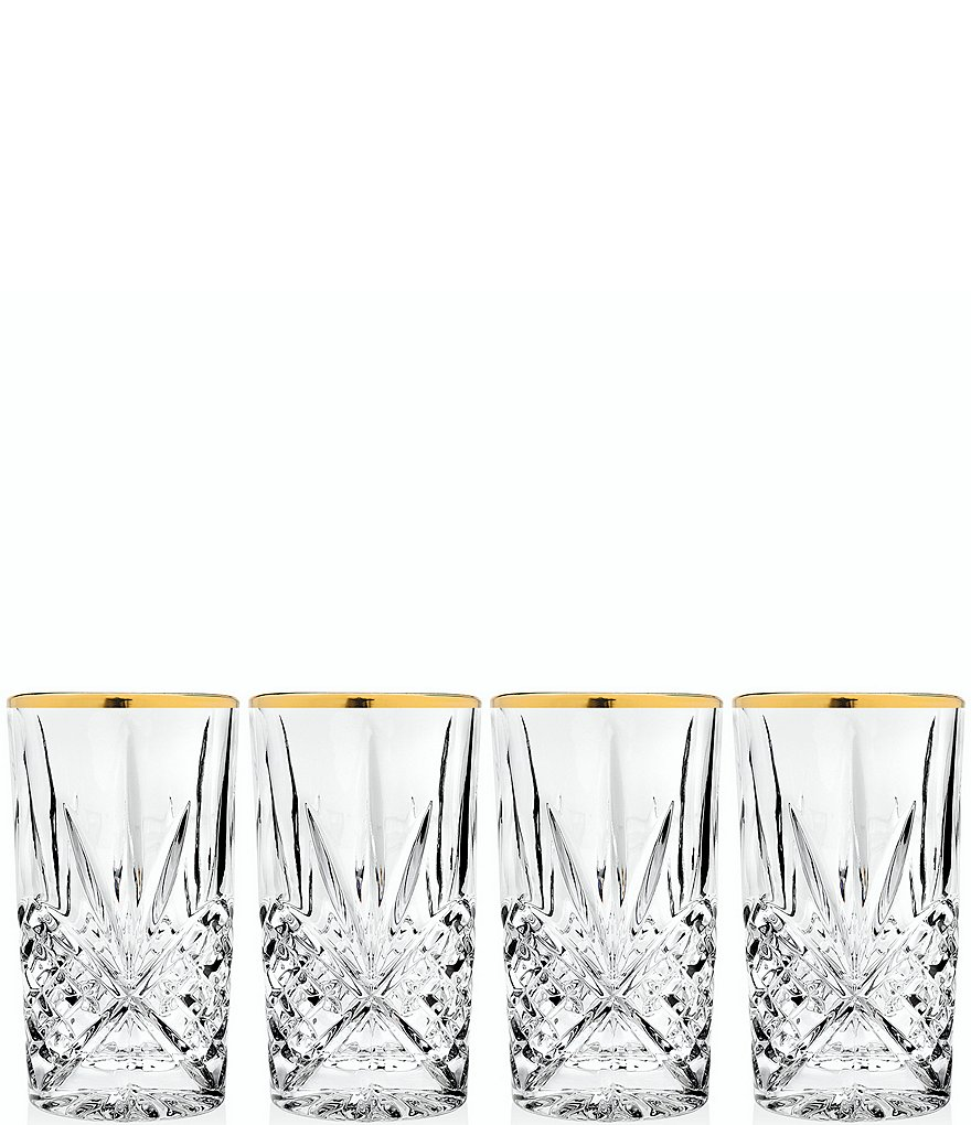 Godinger Dublin Handcrafted Gold-Rimmed Crystal Highball Glasses, Set of 4