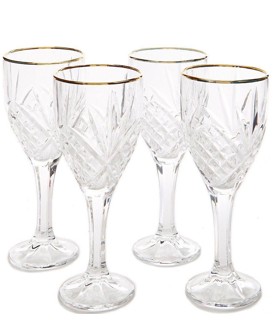 Godinger Dublin Gold-Rimmed Handcrafted Crystal Goblets, Set of 4
