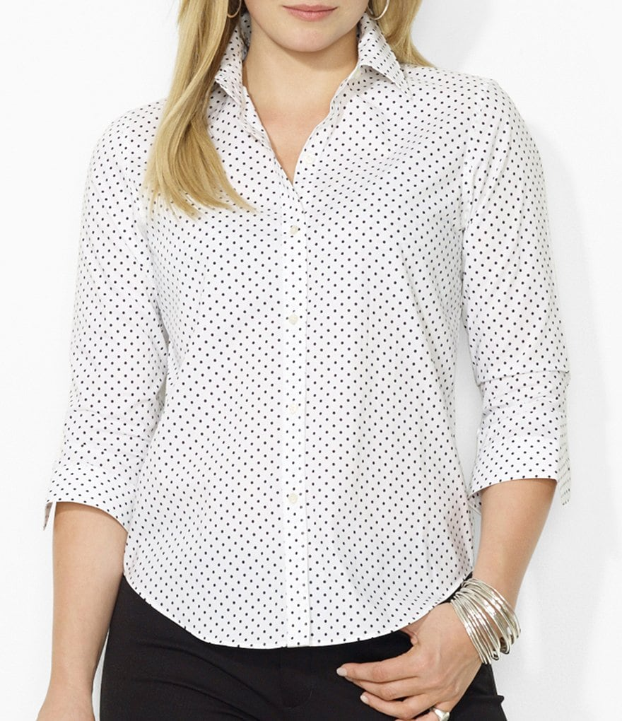 Lauren Ralph Lauren Plus Polka-Dot Dress Shirt