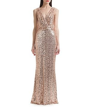 Belle Badgley Mischka Sleeveless V-Neck Sequined Gown