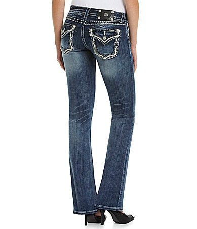 Miss Me Flap-Pocket Bootcut Jeans