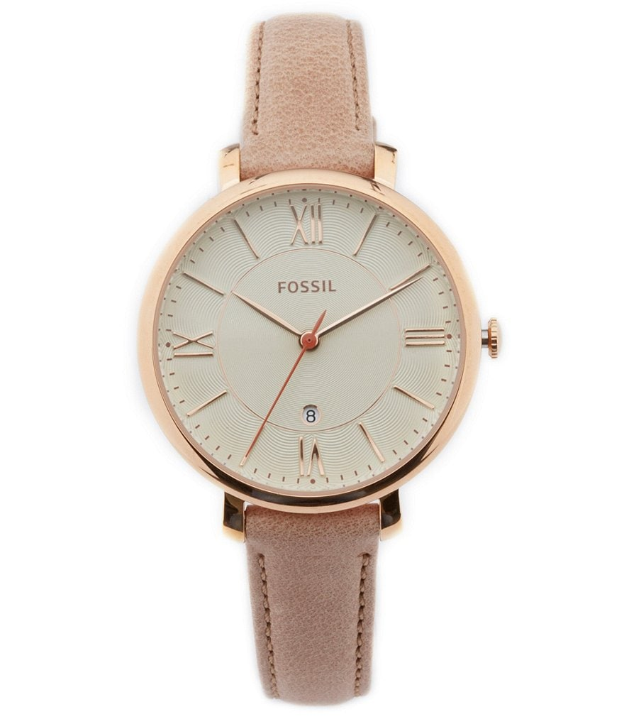 Fossil Jacqueline 3-Hand Tan Leather Strap Watch