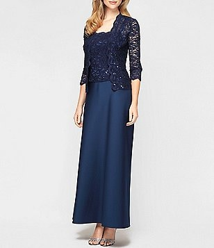 Alex Evenings Sequined Scalloped Lace Jacket Dress