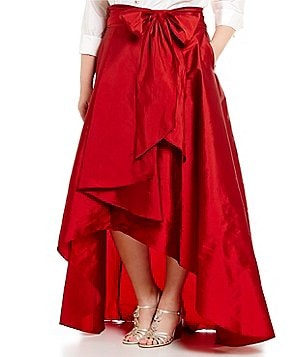 Adrianna Papell Plus Hi-Low Taffeta Skirt