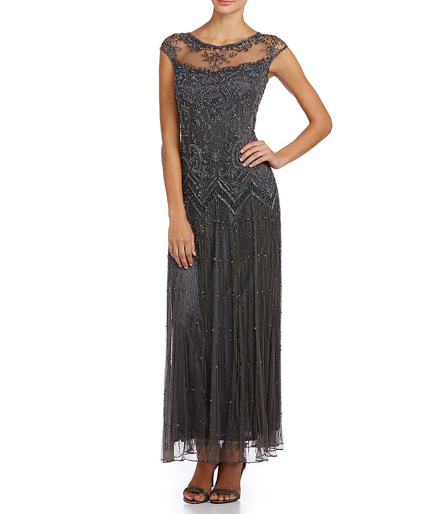 Pisarro Nights Beaded Illusion Gown