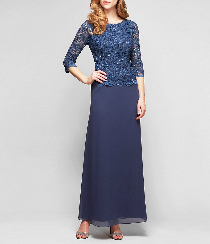 Alex Evenings Petites Sequined Lace Gown