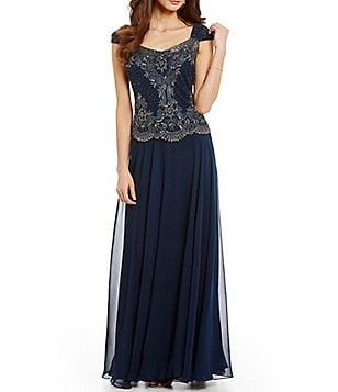 Jkara Beaded Bodice A-Line Gown