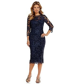 JS Collections Tea-Length Midi Lace Dress