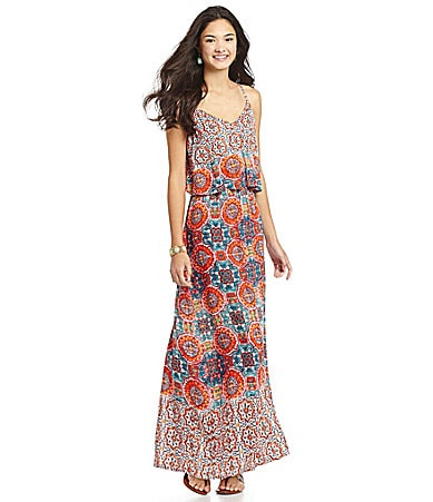 Angie Medallion Challis Maxi Dress