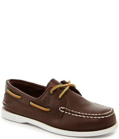 Boys' Boat Shoes are for sale in a range of clothing sizes. Consider an assortment of materials like leather or canvas. Look for colors like brown and blue as well as others.