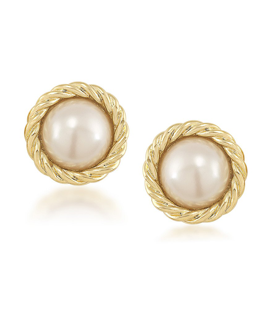 Carolee Manhattan Medley Pearl Button Clip-On Earrings
