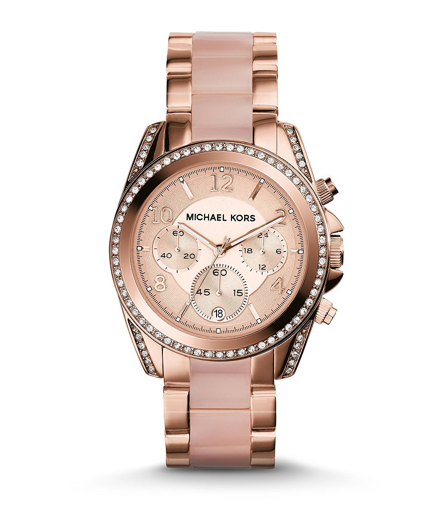 Michael Kors Blair Rose Gold & Blush Stainless Steel Chronograph Glitz Bracelet Watch