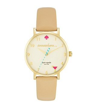 kate spade new york Novelty Metro It´s 5:00 Somewhere Leather-Strap Watch