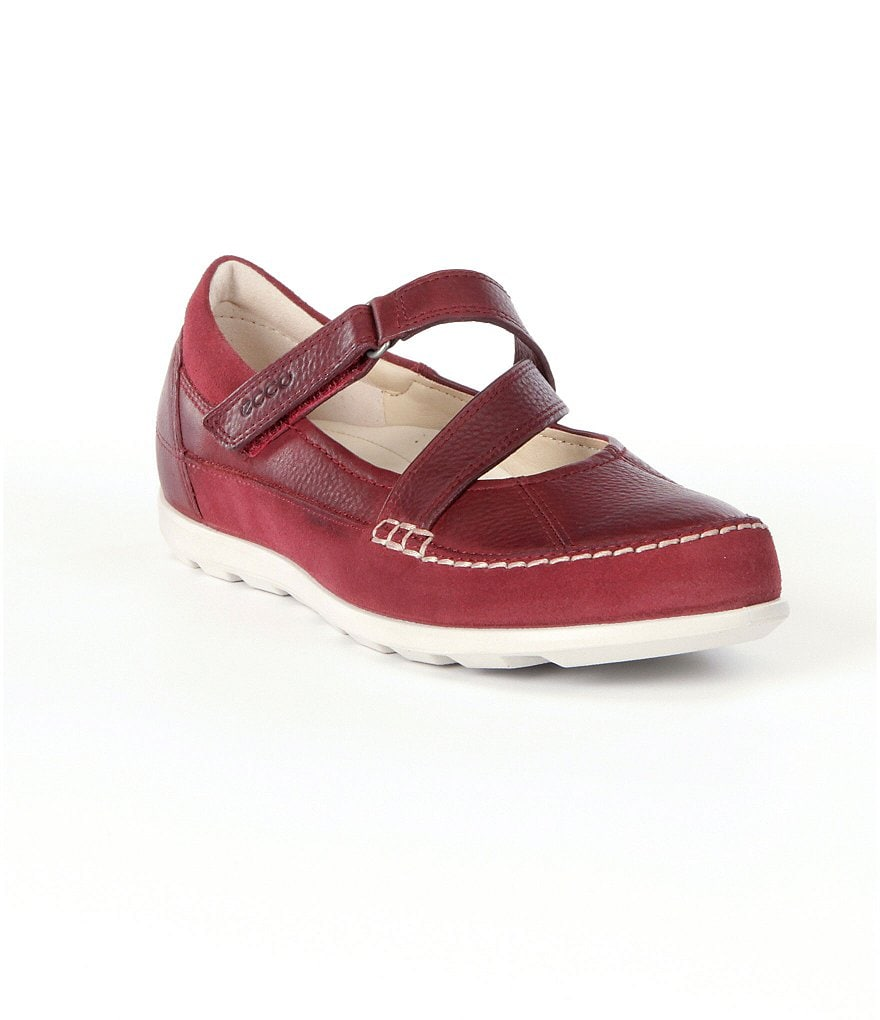 ECCO Cayla Suede & Leather Asymmetrical Criss Cross Mary Jane Casual Flats