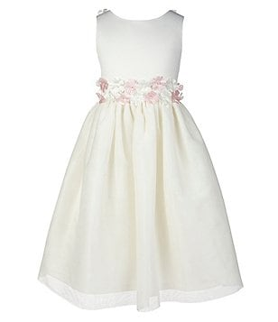 Jayne Copeland 7-12 Flower-Accented-Waist Dress