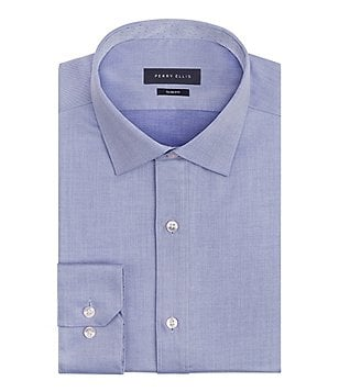 Perry Ellis Non-Iron Slim-Fit Spread-Collar Stretch Chambray Twill Dress Shirt