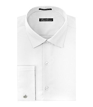 Kenneth Cole New York Non-Iron Slim-Fit Spread-Collar with French Cuffs Stretch Solid Dress Shirt