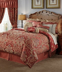 Bedding with european styling and design by croscill and waterford