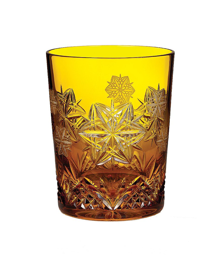 Waterford Snowflake Wishes Peace Prestige Edition, Amber Double Old-Fashioned Glass