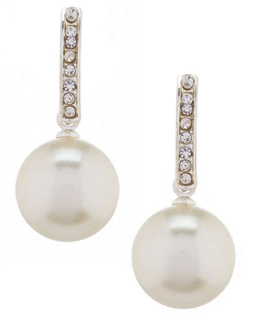 Cezanne Pearl Drop Rhinestone Half Hoop Earrings
