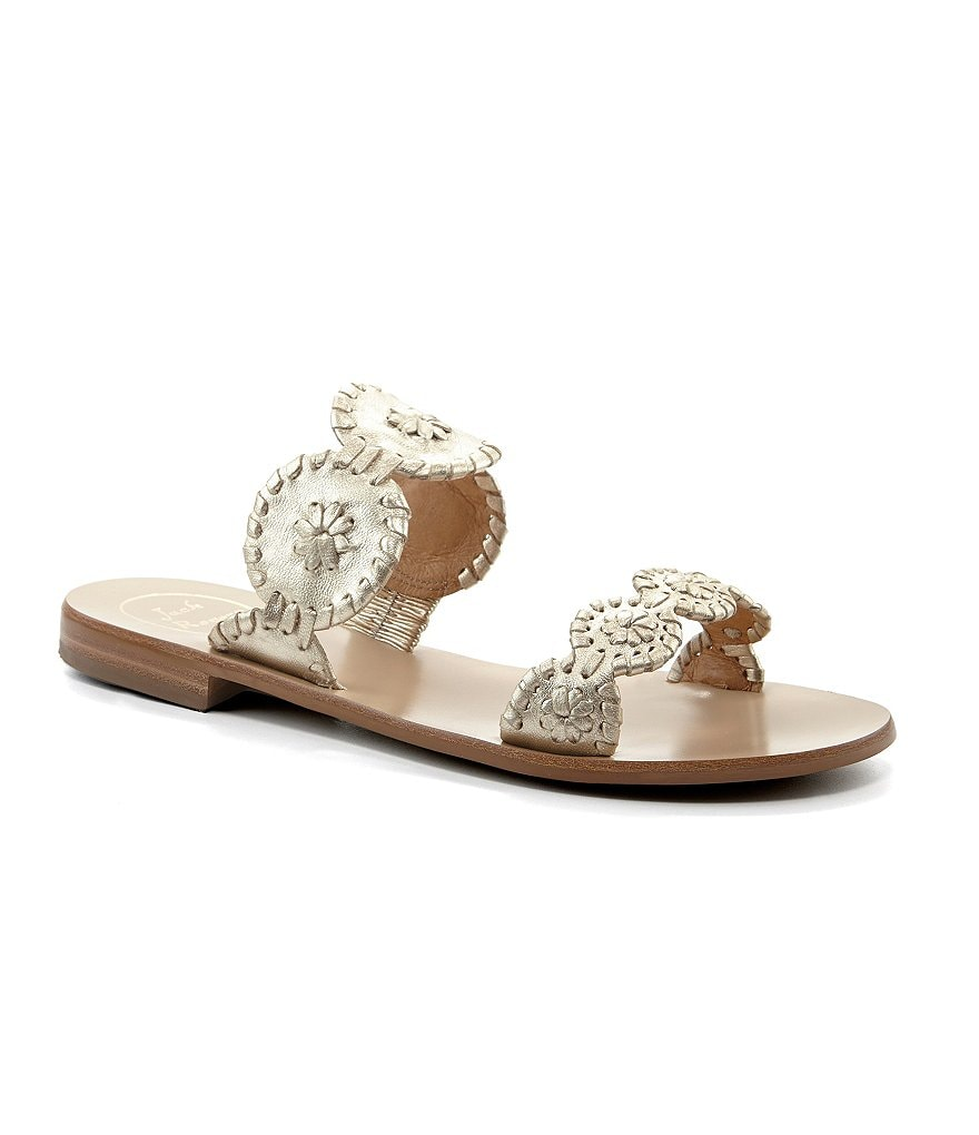 Jack Rogers Lauren Metallic Leather Double Banded Sandals