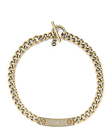 Michael Kors Reversible MK Plaque Toggle Necklace