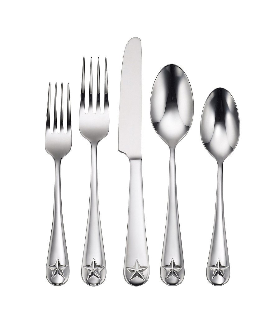 Oneida Tindra Rustic Star 45-Piece Stainless Steel Flatware Set