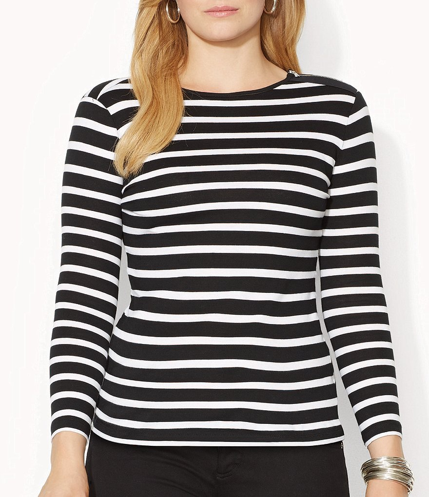 Lauren Ralph Lauren Plus Buttoned-Shoulder Striped Top